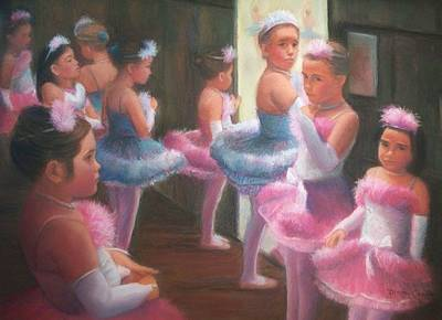 Little Ballerinas Backstage At The Recital Art Print by Diane Caudle