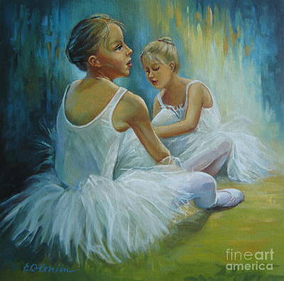 Child Ballerinas Painting - Little Ballerinas by Elena Oleniuc