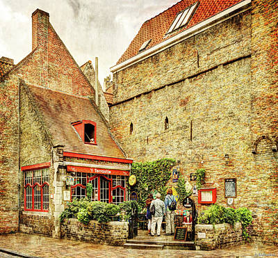 Photograph - Little Bar In Bruges - Vintage Version by Weston Westmoreland