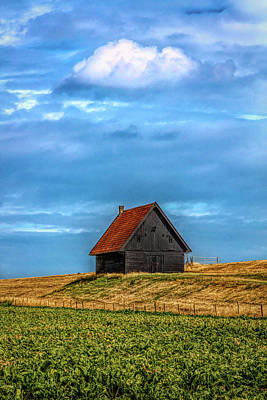 Photograph - Little Barn At The Top Of The Hill In Hdr Detail by Debra and Dave Vanderlaan
