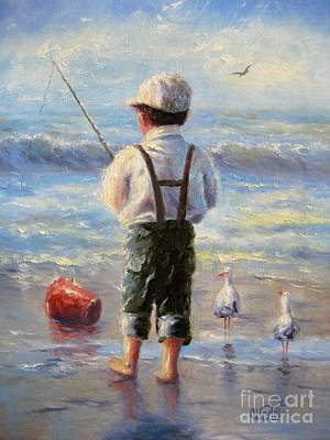Little Boy Painting - Little Beach Boy by Vickie Wade