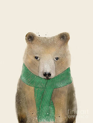 Art Print featuring the painting Little Bear Brown by Bri B