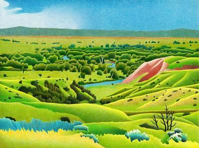 Drawing - Little Bighorn Valley by Dan Miller