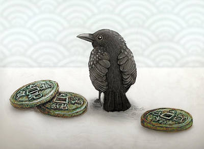 Bird Wall Art - Digital Art - Little Bird And Coins by Kato D