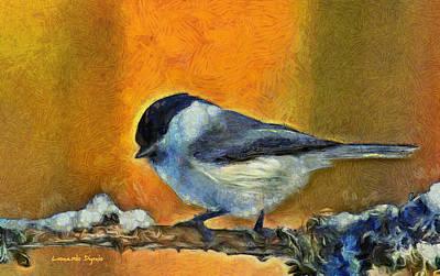 Chickadee Digital Art - Little Bird - Da by Leonardo Digenio
