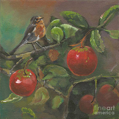 Painting - Little Bird In The Apple Tree by Jan Dappen