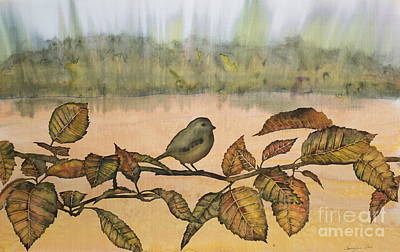 Tapestry - Textile - Little Bird On A Branch by Carolyn Doe
