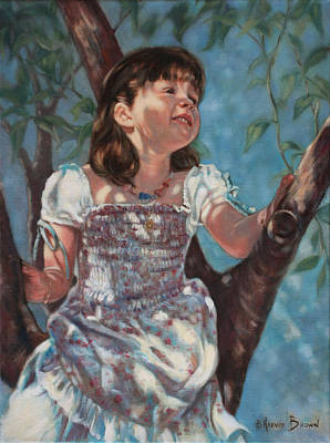 Casual Portraits Painting - Little Bird Watcher by Harvie Brown