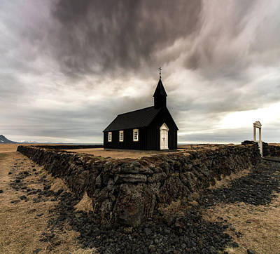 Reindeer Wall Art - Photograph - Little Black Church by Larry Marshall