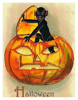 Pumpkin Art Card Mixed Media - Little Black Devil Come by Long Shot