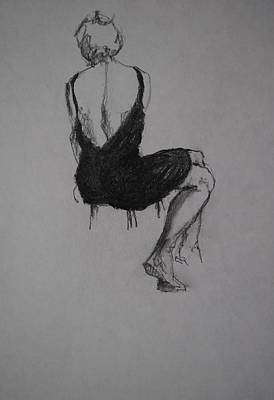 Male Nude Drawing Drawing - Little Black Dress by Chris  Riley