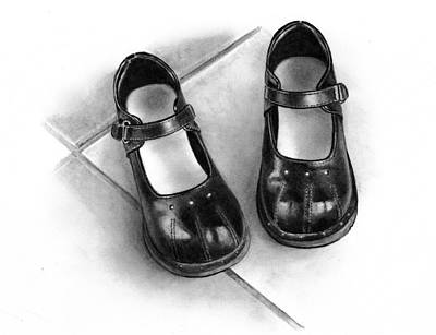Still Life Drawings - Little Black Shoes by Joyce Geleynse