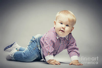Photograph - Little Blond Baby Boy Crawling On The Ground. by Michal Bednarek
