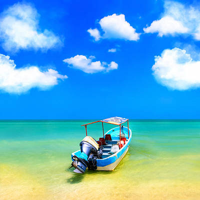 Photograph - Little Blue Boat In Tropical Waters by Mark E Tisdale