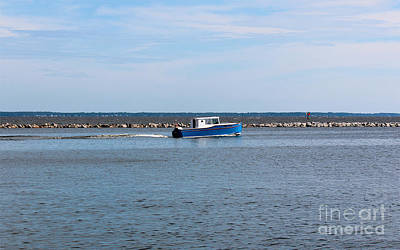 Fishing Enthusiast Photograph - Little Blue Boat by Robert Yaeger