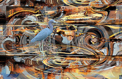 Photograph - Little Blue Heron On Abstract by rd Erickson