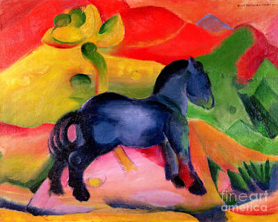 Expressionist Painting - Little Blue Horse by Franz Marc