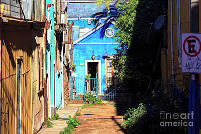Photograph - Little Blue House In Valparaiso Chile by John Rizzuto
