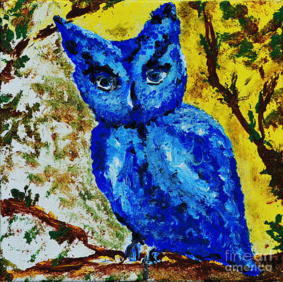Painting - Little Blue Owl by Alys Caviness-Gober