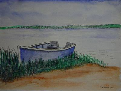 Little Blue Skiff Art Print by Ron Sylvia
