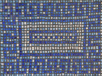 Little Blue Tiles Art Print by Tracy Fetter