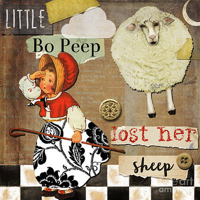 Nursery Rhyme Painting - Little Bo Peep Nursery Rhyme by Mindy Sommers