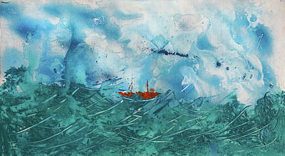 Lost At Sea Painting - Little Boat - Big Storm by Erik Tanghe