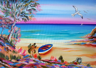 Painting - Little Boat By The Shore by Roberto Gagliardi