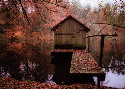 Photograph - Little Boat House In Autumn by Alexander Kunz