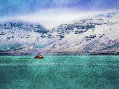 Digital Art - Little Boat In Reykjavik Bay by Frans Blok