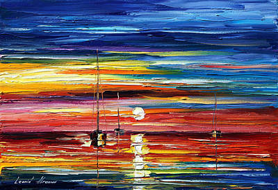 Lighthouse Oil Painting - Little Boat by Leonid Afremov
