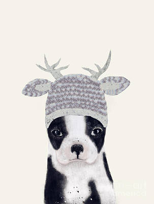 Dog Art Painting - Little Boston Deer by Bri B