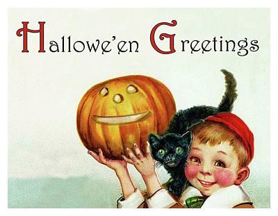 Pumpkin Art Card Mixed Media - Little Bot Holding A Pumpkin by Long Shot