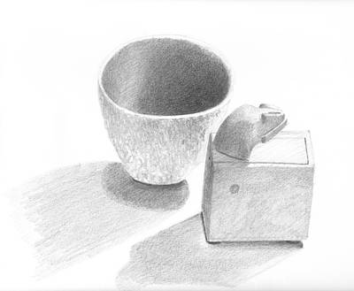 Drawing - Little Bowl And Magic Box Sketch by Ben Kotyuk