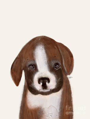 Boxer Puppy Painting - Little Boxer by Bri B