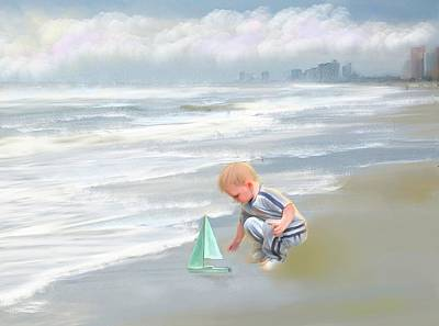 Little Boy And Boat Art Print by Mary Timman