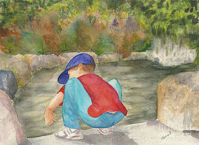 Art Print featuring the painting Little Boy At Japanese Garden by Vicki  Housel