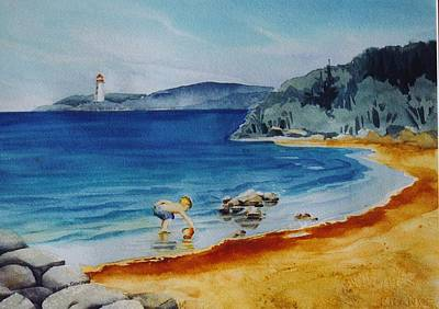 Little-boy-at-the-beach Art Print by Nancy Newman