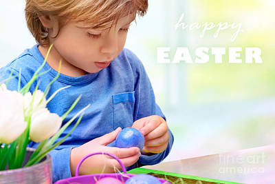 Photograph - Little Boy Decorating Easter Eggs by Anna Om