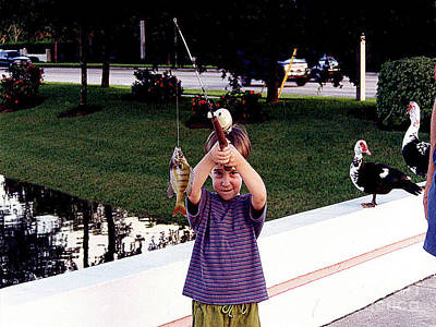 Photograph - Little Boy - First Fish Ever Caught by Merton Allen