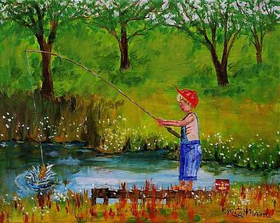 Painting - Little Boy Fishing by Mike Caitham