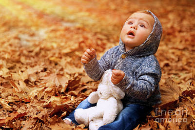 Photograph - Little Boy In Autumn Forest by Anna Om