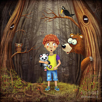 Nature Study Digital Art - Little Boy In The Forest by Natalia Moroz
