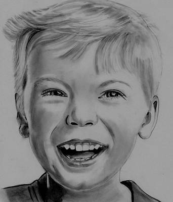 Drawing - Little Boy Laughing by Barb Baker