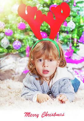 Photograph - Little Boy Near Christmas Tree  by Anna Om