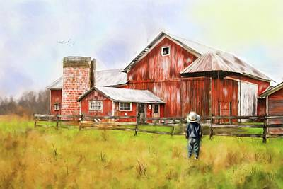 Little Boy On The Farm Art Print
