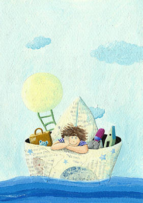 Toy Boat Mixed Media - Little Boy Sailing In A Paper Boat by Hicham  Attalbi alami