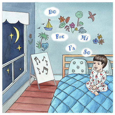 Painting - Little Boy Singing In The Bed by Irina Sztukowski
