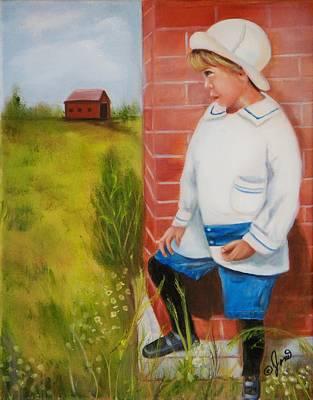 Kid Painting - Little Boy Waiting by Joni M McPherson