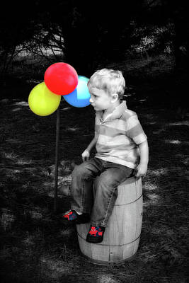Photograph - Little Boy With Balloons by Trina Ansel